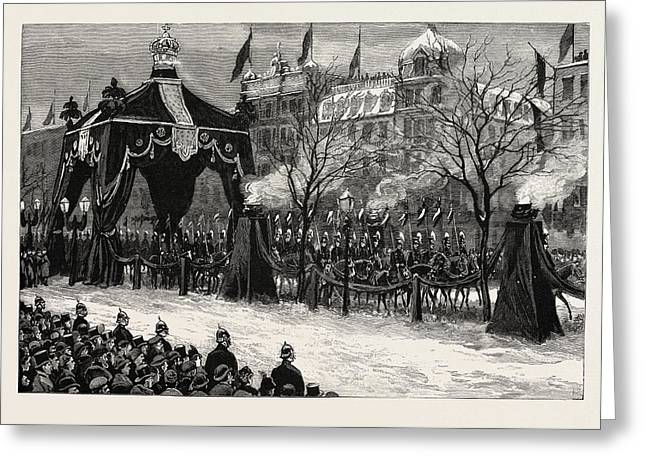The Death Of The Emperor William,the Procession Passing Greeting Card by German School