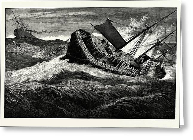 The December Gales On The Atlantic The German Steamship Greeting Card by American School