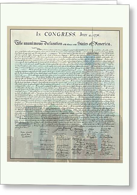 The Declaration Of Independence - Freedom Tower Greeting Card by Stephen Stookey