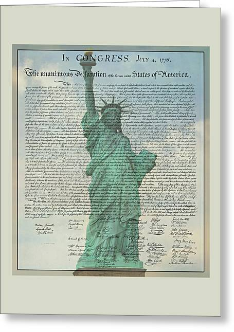 The Declaration Of Independence - Statue Of Liberty Greeting Card by Stephen Stookey