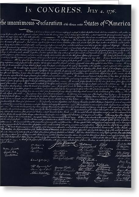 The Declaration Of Independence In Negative  Greeting Card by Rob Hans