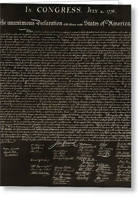 The Declaration Of Independence In Negative Sepia Greeting Card