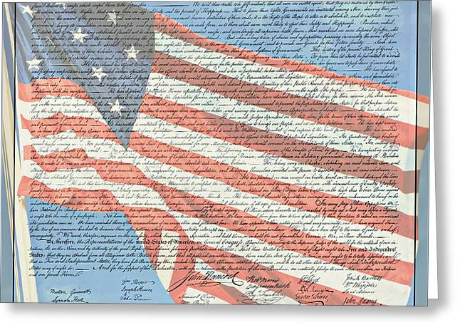 The Declaration Of Independence - Star-spangled Banner Greeting Card by Stephen Stookey