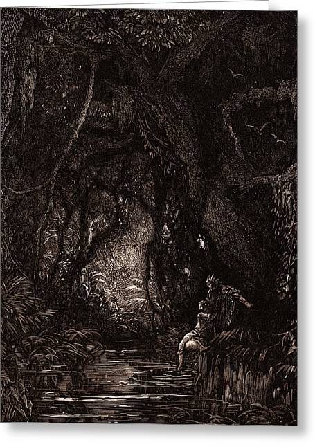 The Deep Mid-forest, By Gustave DorÉ. Gustave Dore Greeting Card