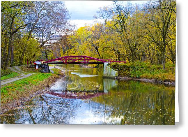 The Delaware Canal Near New Hope Pa In Autumn Greeting Card by Bill Cannon