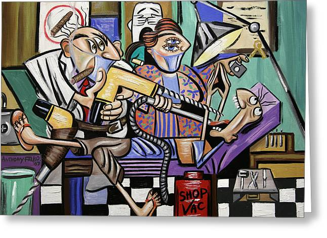 Greeting Card featuring the painting The Dentist Is In Root Canal by Anthony Falbo