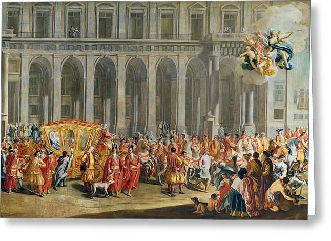 The Departure Of Alois Thomas Von Harrach, Viceroy Of Naples 1669-1742 From The Palazzo Reale Di Greeting Card