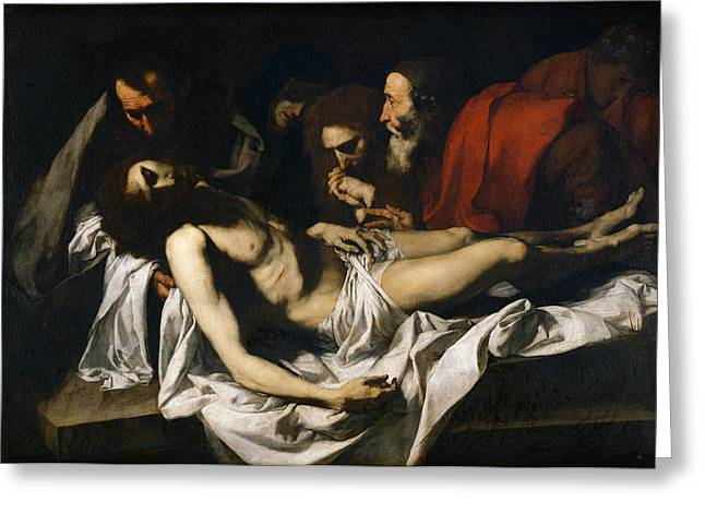 The Deposition Oil On Canvas Greeting Card by Jusepe de Ribera