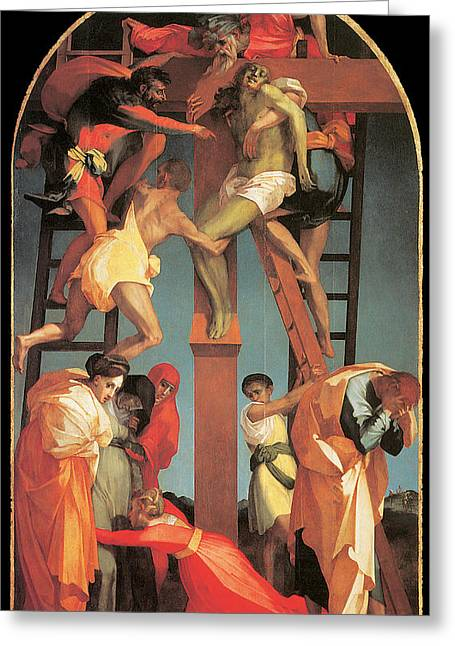 The Descent From The Cross Greeting Card by Rosso Fiorentino