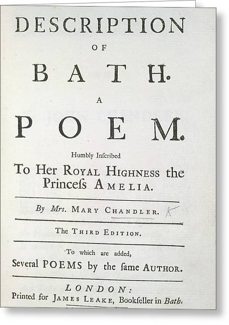 The Description Of Bath Greeting Card by British Library