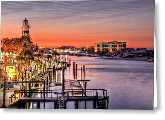 The Destin Harbor Walk Greeting Card by JC Findley