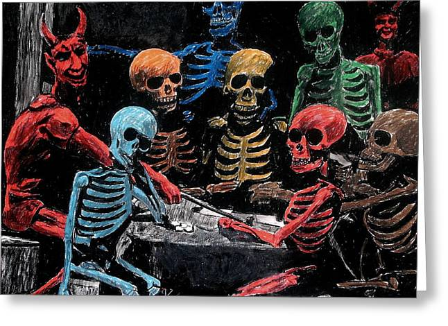 The Devil And Friends Greeting Card by Jeremy Moore