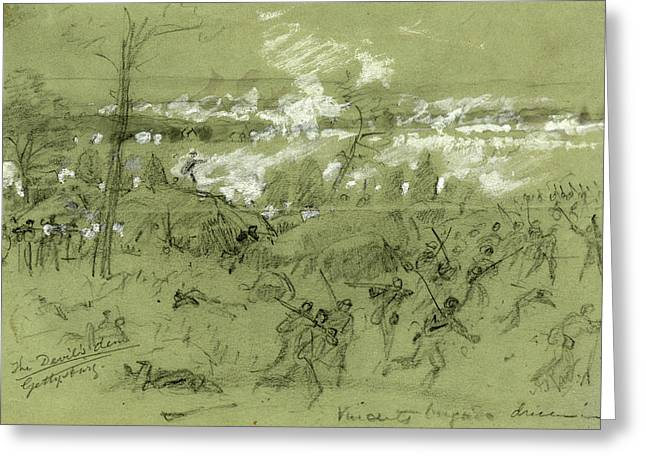 The Devils Den Gettysburg, Drawing, 1862-1865 Greeting Card