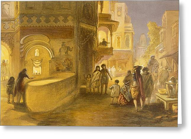 The Dewali Or Festival Of Lamps Greeting Card by William 'Crimea' Simpson
