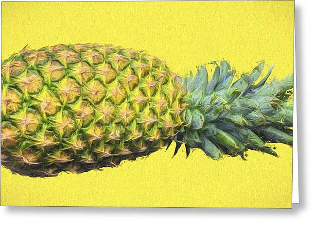 The Digitally Painted Pineapple Sideways Greeting Card by David Haskett