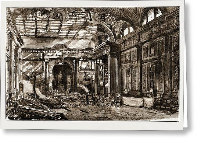 The Disastrous Fire At Freemasons Hall, Great Queen Street Greeting Card by Litz Collection