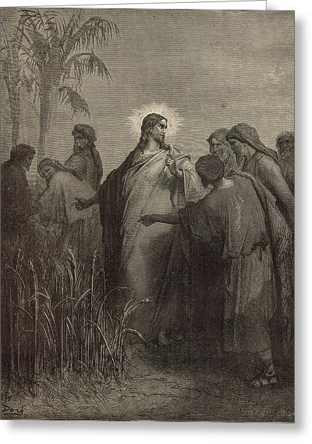 The Disciples Plucking Corn On The Sabbath Greeting Card by Antique Engravings