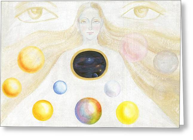 The Discovery Of The Cosmic Spirit Greeting Card by Shiva  Vangara