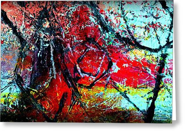 The Distance - Abstract Art By Laura Gomez - Horizontal Long Strip Format Greeting Card by Laura  Gomez