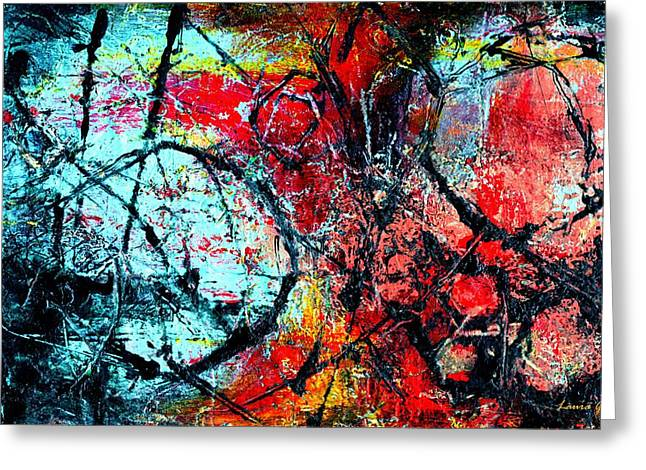 The Distance - Abstract Art By Laura Gomez - Horizontal Size Greeting Card