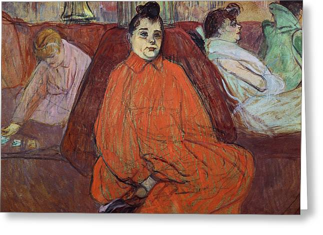 The Divan, 1893 Gouache & Pastel On Cardboard Greeting Card by Henri de Toulouse-Lautrec