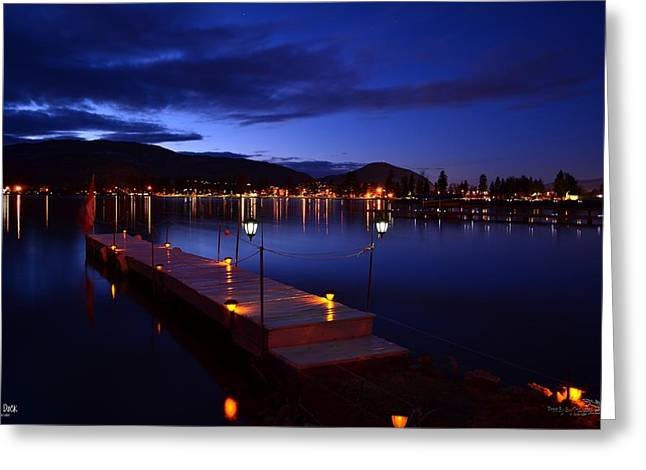 The Dock At Night- Skaha Lake 02-21-2014 Greeting Card