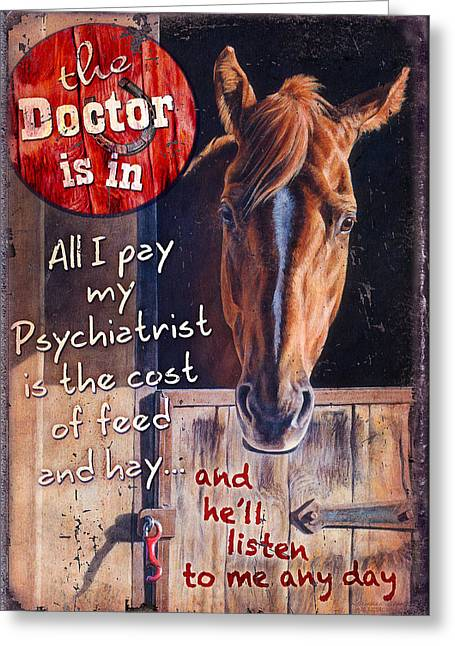 Greeting Card featuring the painting The Doctor Is In by JQ Licensing