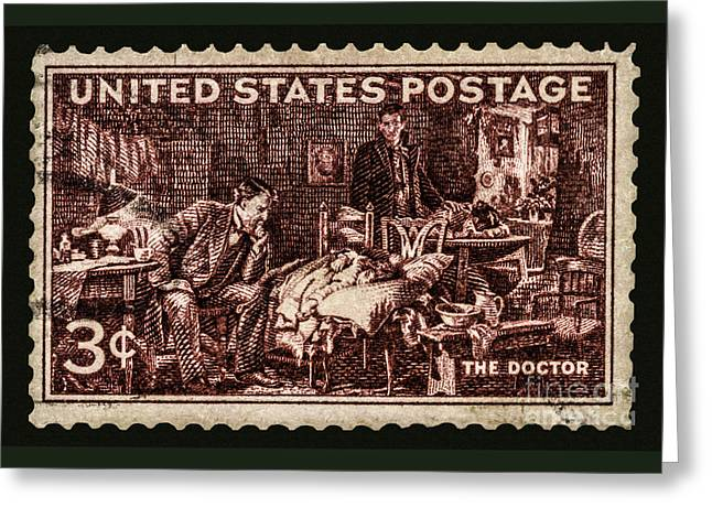 The Doctor - Concerned Physician Postage Stamp Greeting Card by Phil Cardamone