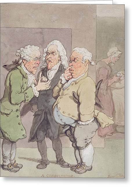 The Doctors Consultation, 1815-1820 Pen And Ink And Wc Over Graphite On Paper Greeting Card by Thomas Rowlandson