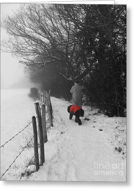 The Dog In The Red Coat Greeting Card by Vicki Spindler