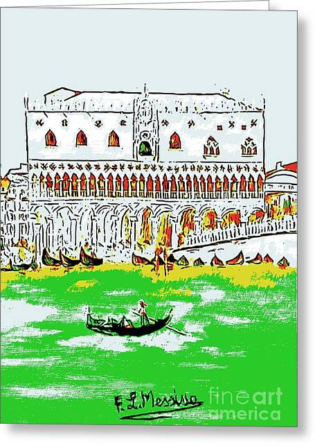 Greeting Card featuring the painting The Doge's Palace by Loredana Messina