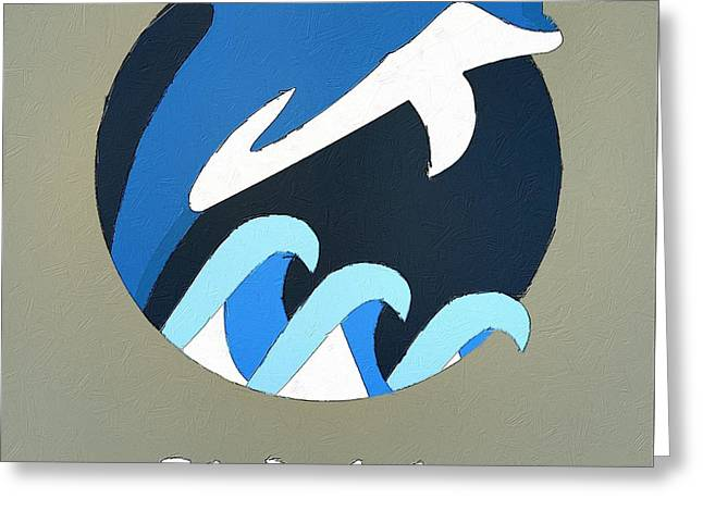 The Dolphin Cute Portrait Greeting Card by Florian Rodarte