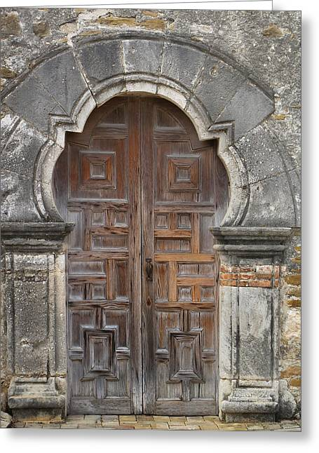 The Door Of Espada Mission  Greeting Card by David and Carol Kelly