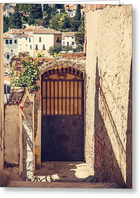The Door With Overview Of Ronda Greeting Card by Jenny Rainbow