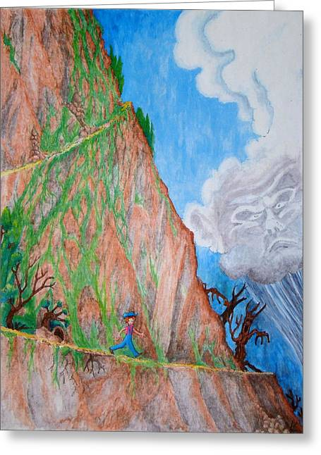 Greeting Card featuring the painting The Downward Path by Matt Konar