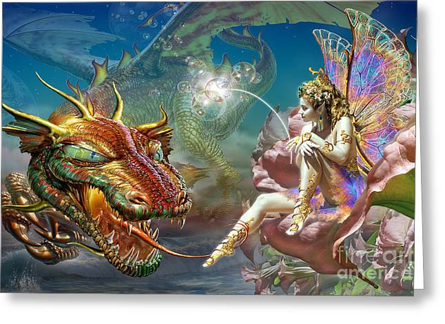 The Dragon And The Fairy Greeting Card by Adrian Chesterman