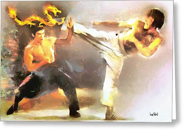 The Dragon Vs Chuck - The Block Up - 4 Of 7 Greeting Card