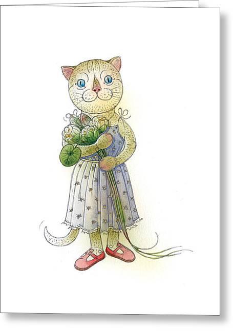 The Dream Cat 01 Greeting Card by Kestutis Kasparavicius