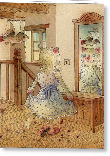 The Dream Cat 11 Greeting Card by Kestutis Kasparavicius