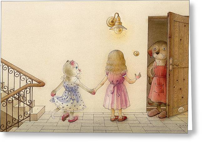 The Dream Cat 18 Greeting Card by Kestutis Kasparavicius
