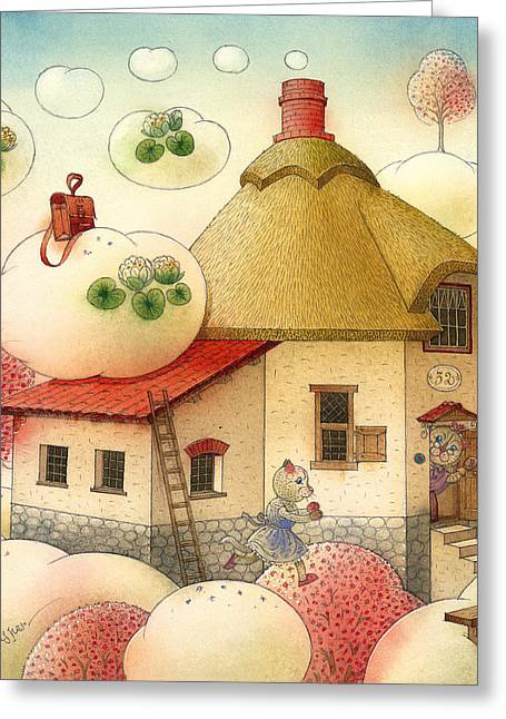 The Dream Cat 28 Greeting Card by Kestutis Kasparavicius