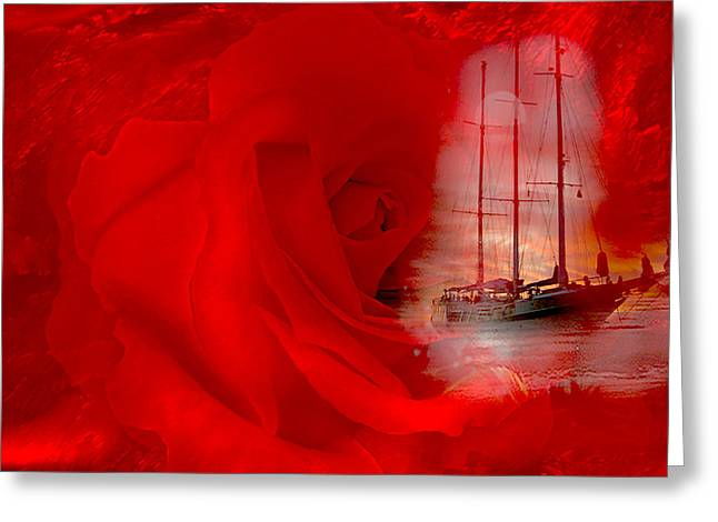 Greeting Card featuring the digital art The Dreaming Rose - Fantasy Art By Giada Rossi by Giada Rossi