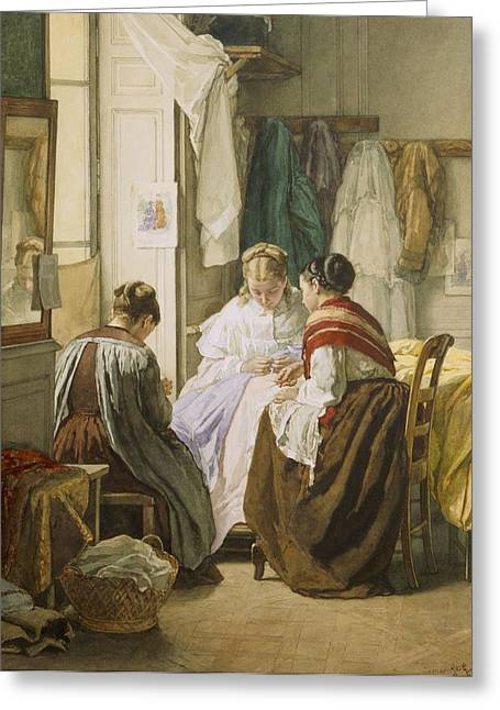 The Dressmakers Greeting Card by Jules Trayer