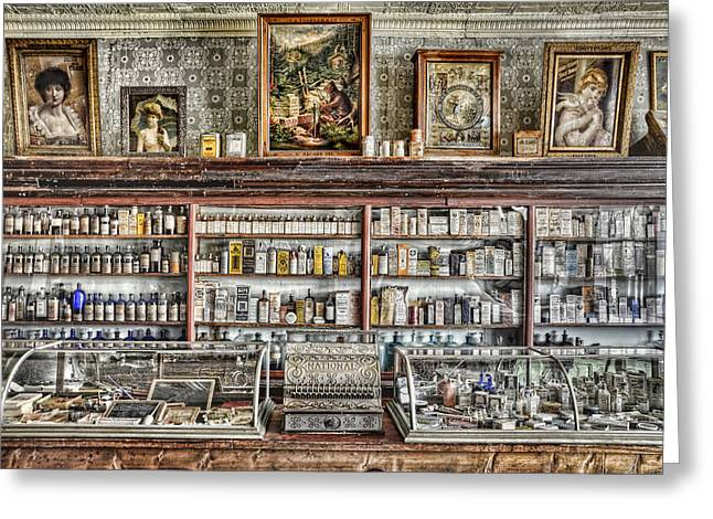 The Drug Store Counter Greeting Card by Ken Smith