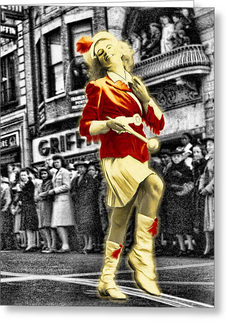 The Drum Majorette Greeting Card by Barry Moore