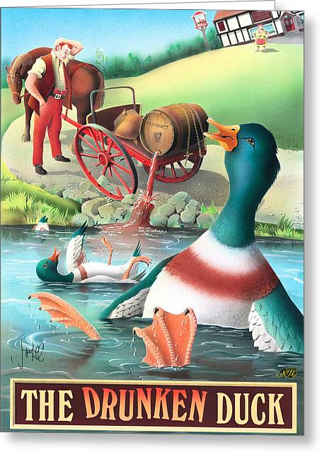 The Drunken Duck Greeting Card by Peter Green