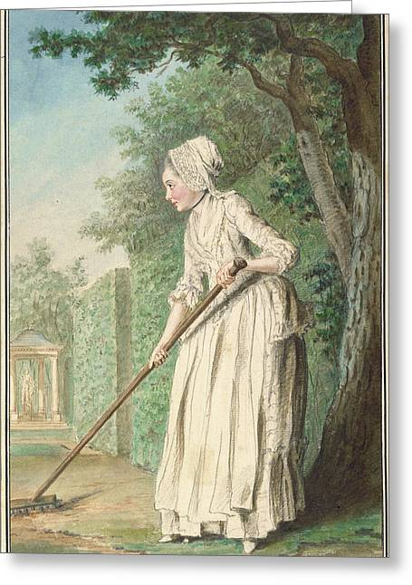 The Duchess Of Chaulnes As A Gardener In An Allée Louis Greeting Card