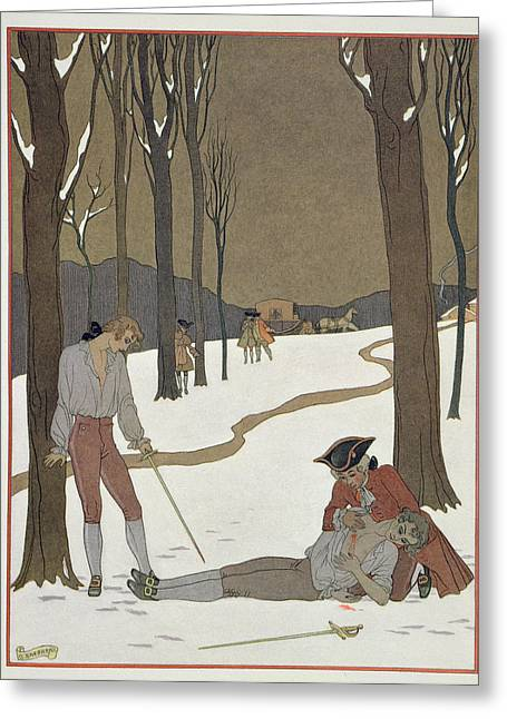 The Duel Between Valmont And Danceny Greeting Card by Georges Barbier