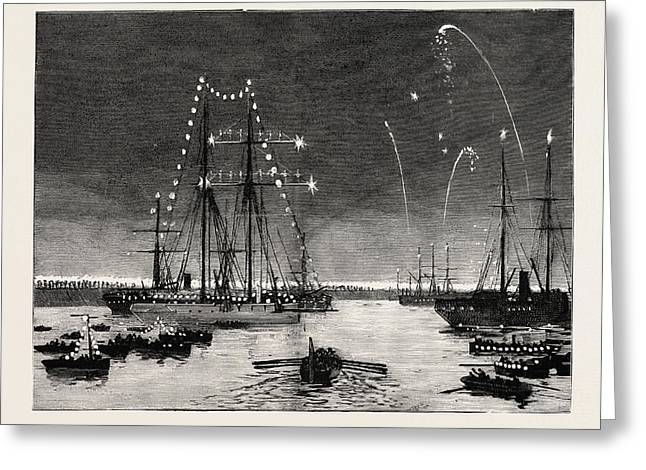 The Duke And Duchess Of Connaught Leaving Colombo At Night Greeting Card by English School