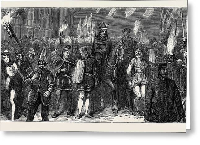 The Duke And Duchess Of Edinburgh At Ashford The Torchlight Greeting Card by English School